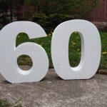 Объемные цифры 60 из пенопласта