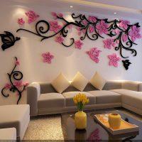 Декоративные цветы из пенопласта на стену