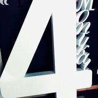 Цифра 4 белая, печатная