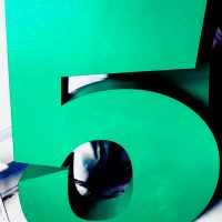 Цифра 5 зеленая