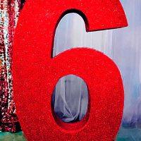 Цифра 6 красная