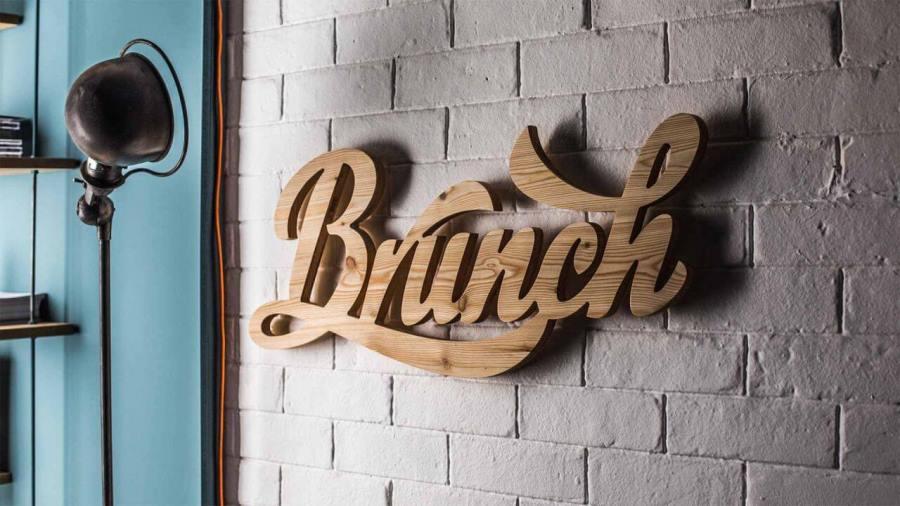 Надпись из дерева. Brunch