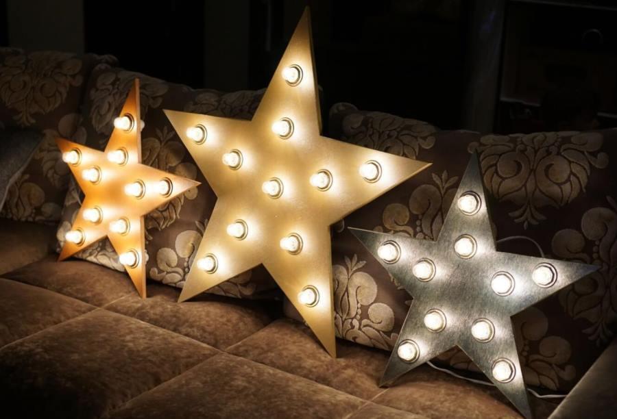 Звезды из пенопласта с подсветкой